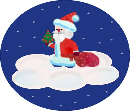 briliance: Santa Claus standing on a cloud with a bag of gifts and New Year tree on his arm Stock Photo