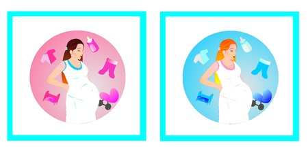 pregnant girl in my dreams on a pink and blue background Stock Vector - 10338797
