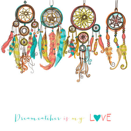 the american dream: Beautiful vector illustration with dream catchers. Colorful ethnic, tribal elements