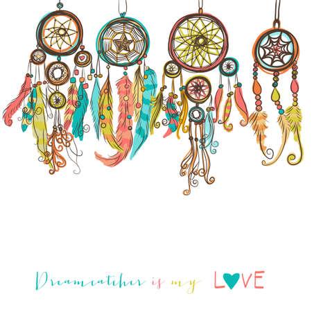 Piękny ilustracji wektorowych z łapacze snów. Kolorowe, plemienne elementy etniczne