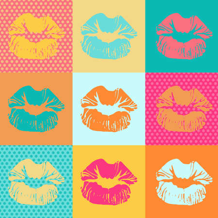 Vector colorful texture with kisses. Pop art lips