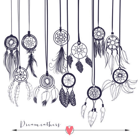 dreams: Beautiful vector illustration with dream catchers. Ethnic, tribal elements on the white background