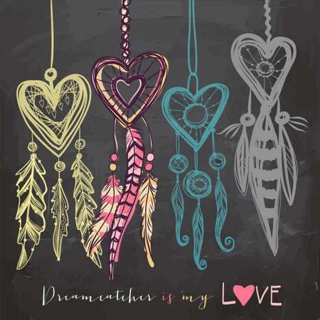 Beautiful vector illustration with dream catchers. Colorful ethnic, tribal elements on blackboard background