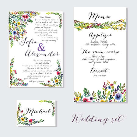 Vector set of invitation cards with watercolor flowers elements and calligraphic letters. Wedding  collection Ilustração