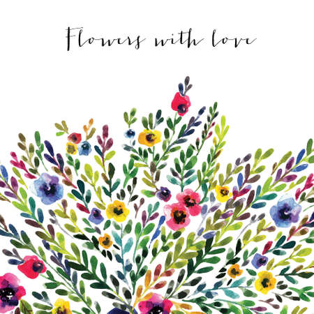Vector floral card. Colorful floral banner with leaves and flowers, drawing watercolor. Spring or summer design for invitation, wedding or greeting cards