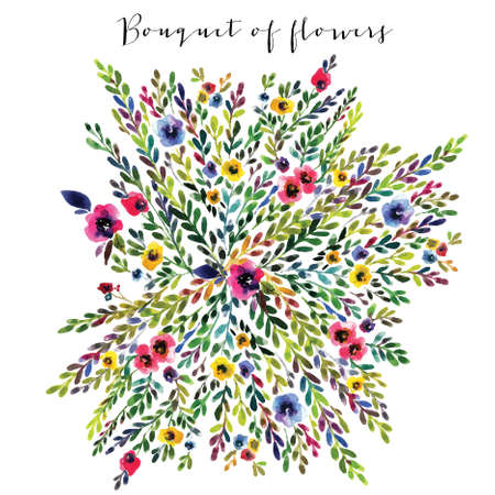 spring summer: Vector floral bouquet. Colorful floral banner with leaves and flowers, drawing watercolor. Spring or summer design for invitation, wedding or greeting cards