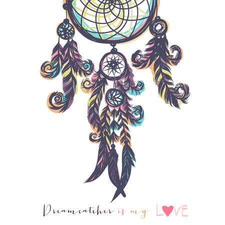 Beautiful vector illustration with dream catchers. Colorful ethnic, tribal elements. Isolated on the white background