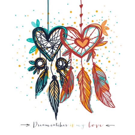 Dream catcher with love in heart shape. Ethnic element