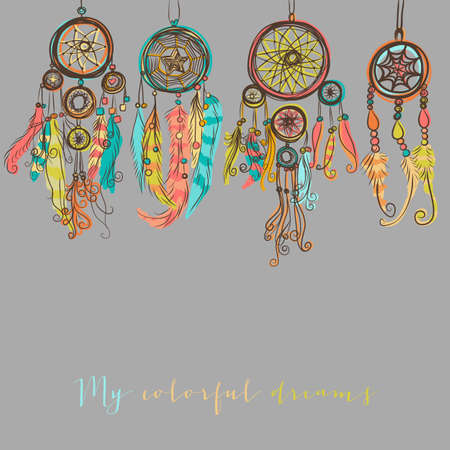dreams: Beautiful vector illustration with dream catchers. Colorful ethnic, tribal elements