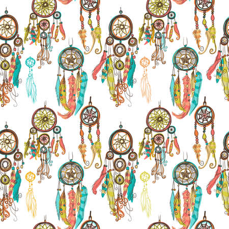 Seamless vector illustration with dream catchers on the white background.  Ethnic, tribal style
