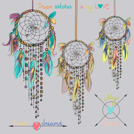 Beautiful vector illustration with dream catchers and feathers. Colorful ethnic elements Ilustração