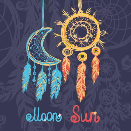 dream: Beautiful vector illustration with sun, moon dream catchers. Colorful ethnic, tribal elements