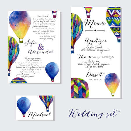 hot: Watercolor hot air balloon on wedding invitation. Hand drawn vintage air balloons in ethnic styleVector illustrations isolated on white background