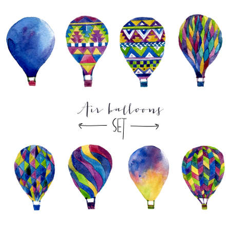 hot: Watercolor set with hot air balloon. Hand drawn vintage collage illustration in ethnic style. Vector stylosh set