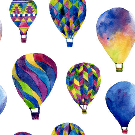 hands in the air: Watercolor seamless pattern with hot air balloon. Hand drawn vintage collage illustration in ethnic style. Vector background texture isolated on white
