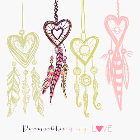 Beautiful vector illustration with dream catchers. Colorful ethnic, tribal elements on white background