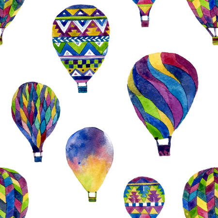 Watercolor seamless pattern with hot air balloon. Hand drawn vintage collage illustration in ethnic style. Vector background texture isolated on white