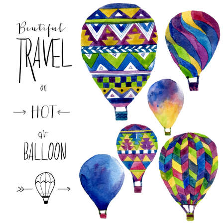 hot: Watercolor card with hot air balloon. Hand drawn vintage collage illustration in ethnic style. Vector kids texture Illustration