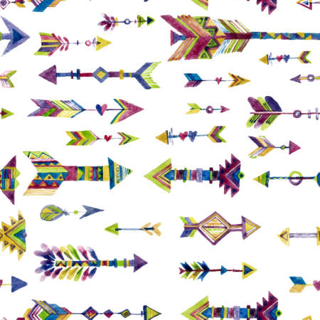 Vector watercolor seamless design with arrows in ethnic style Isolated on white background