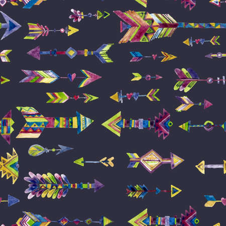 Vector watercolor seamless design with arrows in ethnic style Isolated on black background