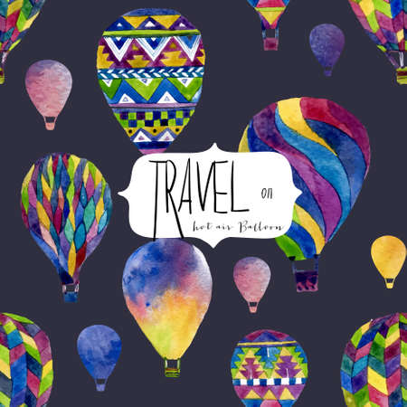 hands in the air: Watercolor seamless pattern with hot air balloon. Hand drawn vintage collage illustration in ethnic style. Vector background texture isolated on black