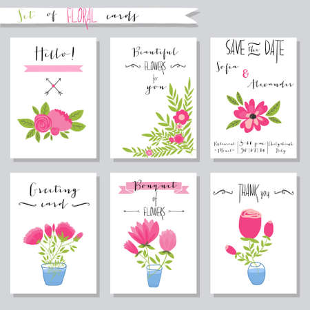 Vector illustration.Collection of cute card templates with flowers. Wedding, marriage, save the date, baby shower, bridal, birthday, Valentines day, Mothers day. Stylish simple design.