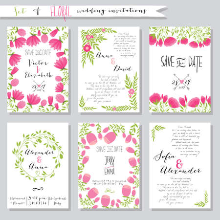 Vector illustration.Collection of wedding invitation templates with pink flowers. Wedding, marriage, save the date. Stylish simple design. 向量圖像