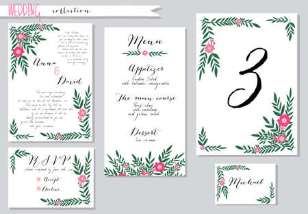 marriage invitation: Vector illustration.Collection of wedding invitation templates with pink flowers. Wedding, marriage, save the date. Stylish simple design. Illustration