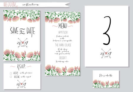 vector illustration collection of wedding invitation templates