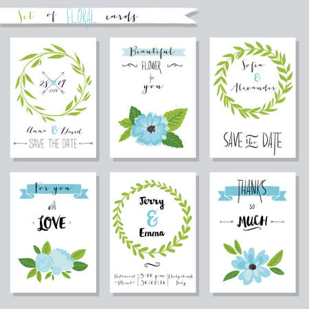 casamento: Vector illustration.Collection de modelos bonitos do cartão com flores. Wedding, união, salvar a data, chá de fraldas, nupcial, aniversário, dia dos namorados, dia das mães. Elegante design simples.
