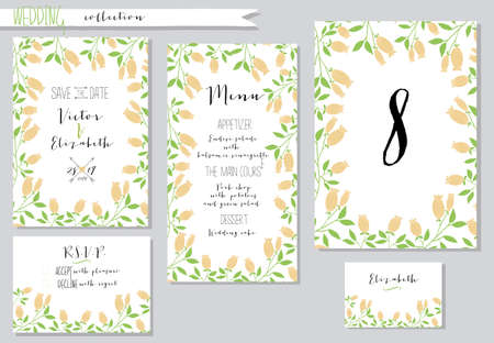 Vector illustration.Collection of wedding invitation templates with pink flowers. Wedding, marriage, save the date. Stylish simple design. Ilustração