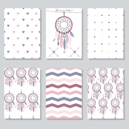 Vector set of beautiful seamless textures and cards with dream catchers, hearts, zig zag and other
