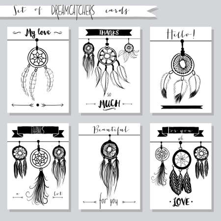 Vector hand drawn set of illustrations with dream catchers, native american posters Ilustração