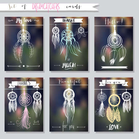 cherokee: Vector hand drawn set of illustrations with dream catchers, native american posters Illustration