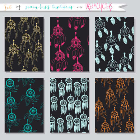 Set of seamless vector illustrations and cards with dream catchers. Ethnic background textures in collections