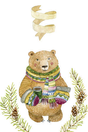 Watercolor illustration with teddy. Cute hand drawn animal, Isolated on white