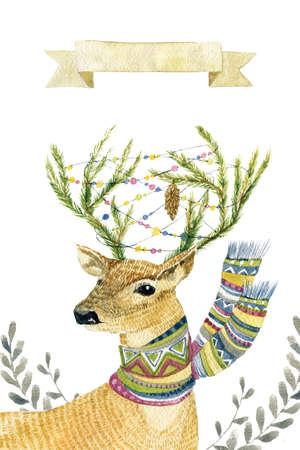 鹿と水彩イラスト。かわいい手描きの動物は、白で隔離