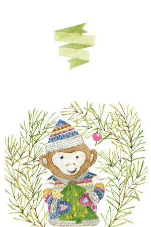 Watercolor illustration with monkey. Cute hand drawn animal, Isolated on white