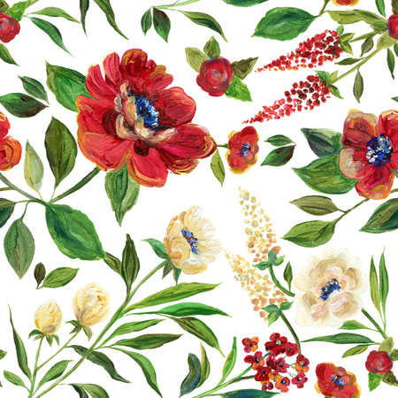 Illustration for textile, wallpapers, wedding ,birthday and different holidays. Cute summer and spring background. Floral pattern with acrylic claret flowers Banco de Imagens