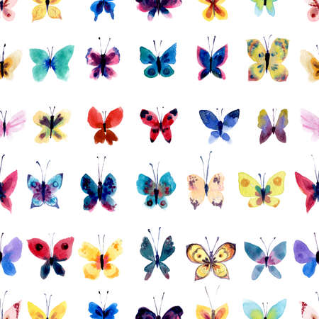 Watercolor pattern with beautiful butterflies, seamless background texture Banco de Imagens