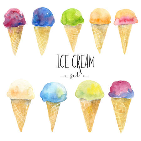 Watercolor set with hand drawn watercolor ice cream with fruits. Isolated illustration on white Фото со стока