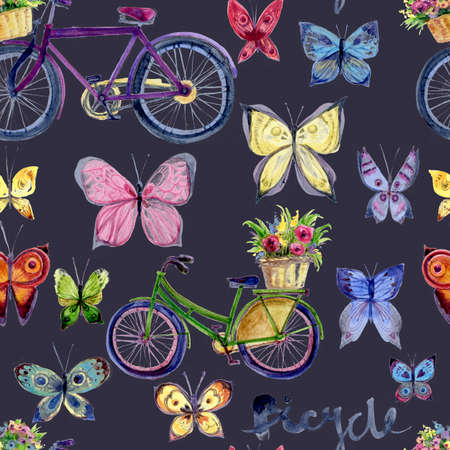 Watercolor seamless pattern with vintage bike and butterfly. Isolated on dark