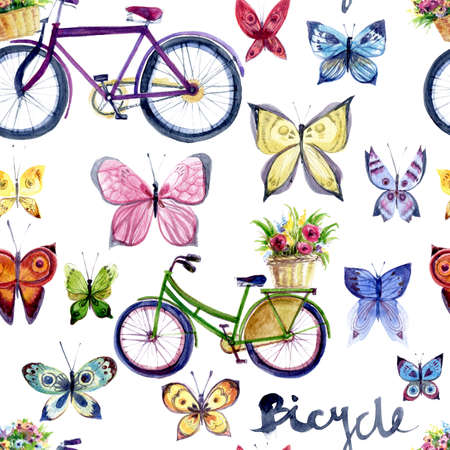 Watercolor seamless pattern with vintage bike and butterfly. Isolated on white