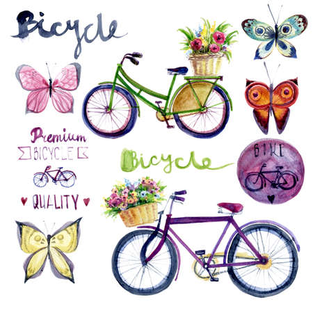 Watercolor romantic illustration with bicycle. Hand drawn illustration: green and pink retro bicycle with floral basket.