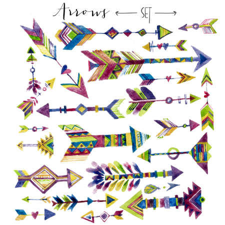 Set of watercolor brushes and arrow elements in ethnic style