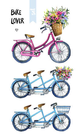 Watercolor illustration of a bicycles with flowers
