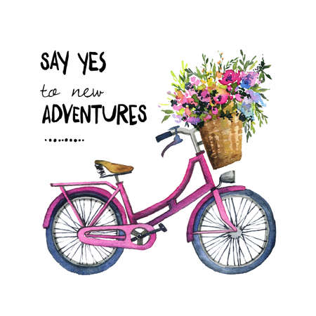 Watercolor illustration of a bicycle with flowers Banco de Imagens