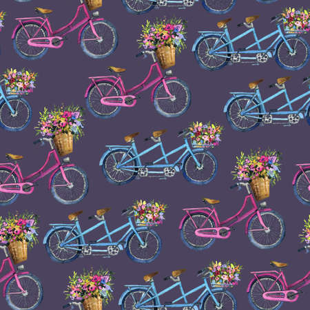 eamless pattern with bicycles and flowers
