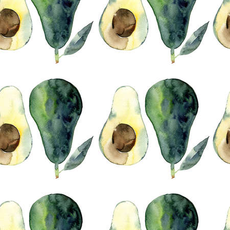 Avocado seamless watercolor illustration. Green food design isolated on white background Banco de Imagens