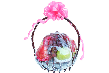 Variety of fruits in the gift basket